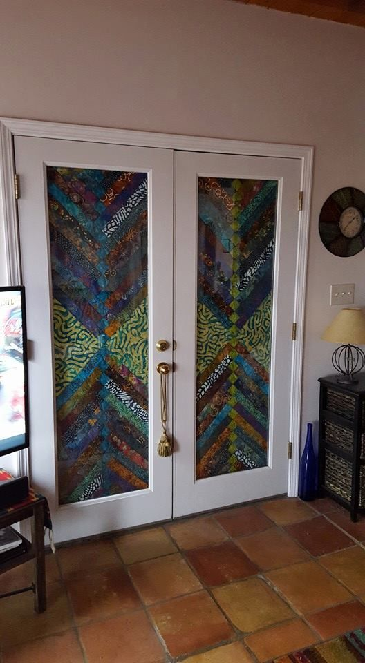 Light blocking for bedroom French doors?  Maker used cafe rods to hang.