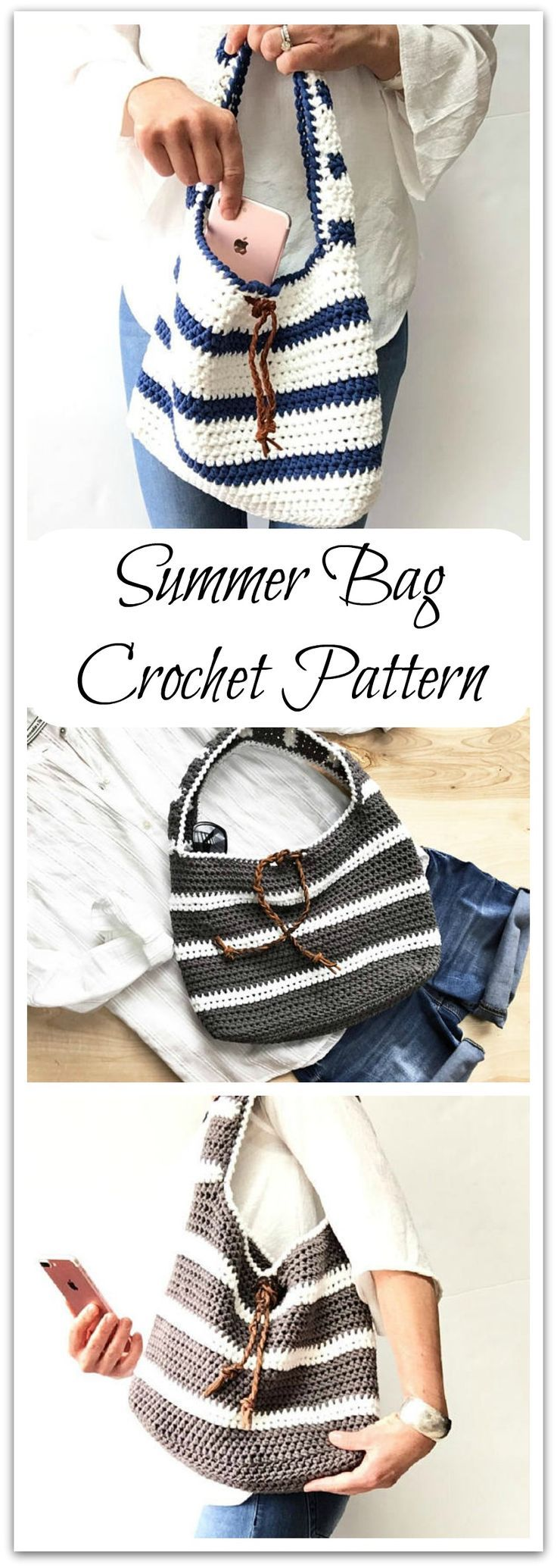 Beach or boat? The Adrian Bag will get you to both! This is an easy project that works up quickly.  Instant PDF download #ad #affiliate #crochet #pattern