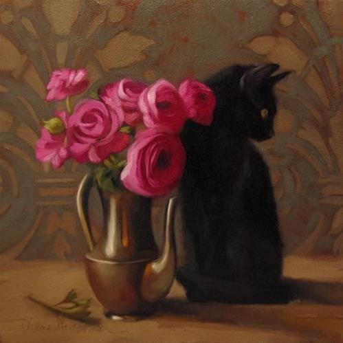 """Daily Paintworks - """"Bystander black cat floral still life painting"""" - Original Fine Art for Sale - © Diane Hoeptner"""