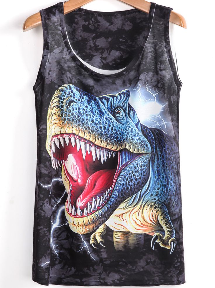 Shop Black Sleeveless Dinosaur Print T-Shirt online. Sheinside offers Black Sleeveless Dinosaur Print T-Shirt & more to fit your fashionable needs. Free Shipping Worldwide!