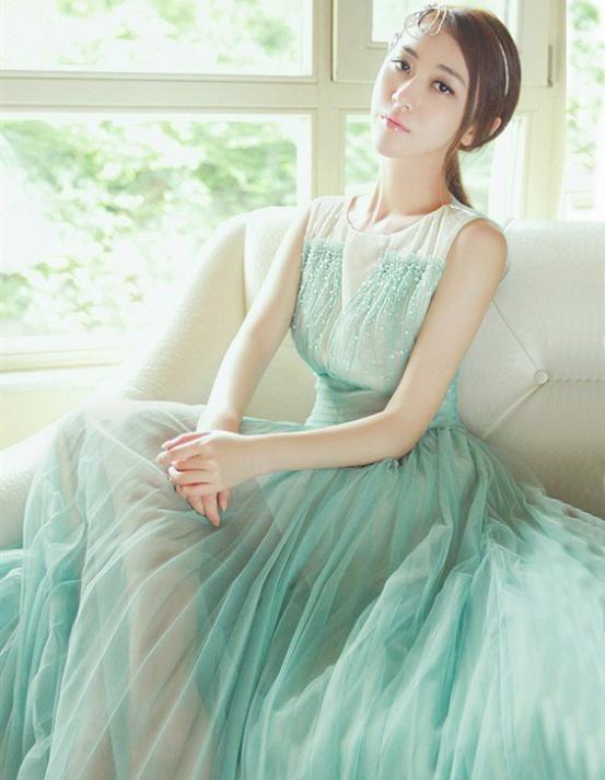$38.75 - 2016 New Womens Elegant Sleeveless Pleated Chiffon tank Dress Mint Green Pleated Chiffon Sweet\/Party Vest Lolita Dress lace