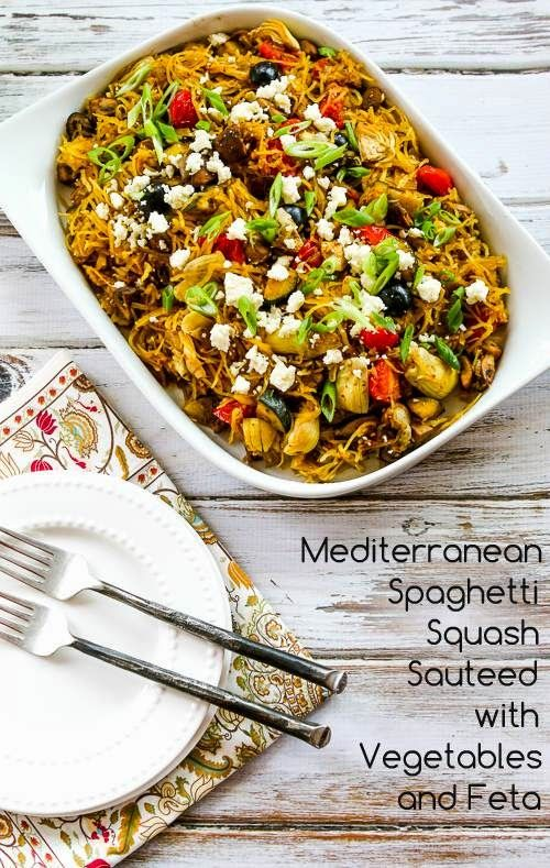 Mediterranean Spaghetti Squash Sauteed with Vegetables and Feta; a great new recipe from a Kalyn's Kitchen reader! [from Kalyn's Kitchen] #LowCarb #GlutenFree