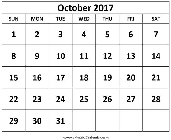 Printable Monthly Calendar with numbers centered