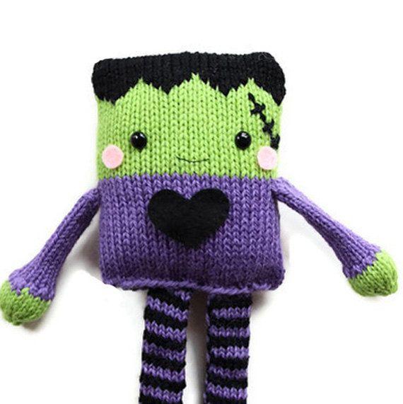 Halloween Knitting Pattern - Toy Frankenstein Knitting Pattern - PDF Pattern. $5.00, via Etsy.