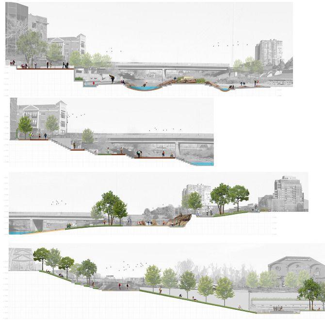 La coupe pour mettre architecture et paysage sur le même plan/ Confluence Park - jimmy hughes - site work.