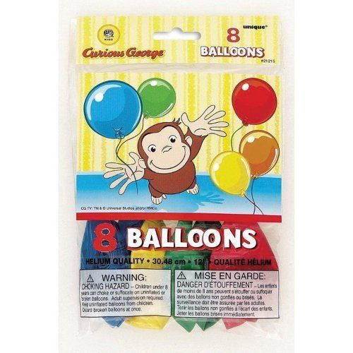 Curious George Printed Balloons   Birthday and Theme Party Supplies   8 Per Pack. #Curious #George #Printed #Balloons #Birthday #Theme #Party #Supplies #Pack