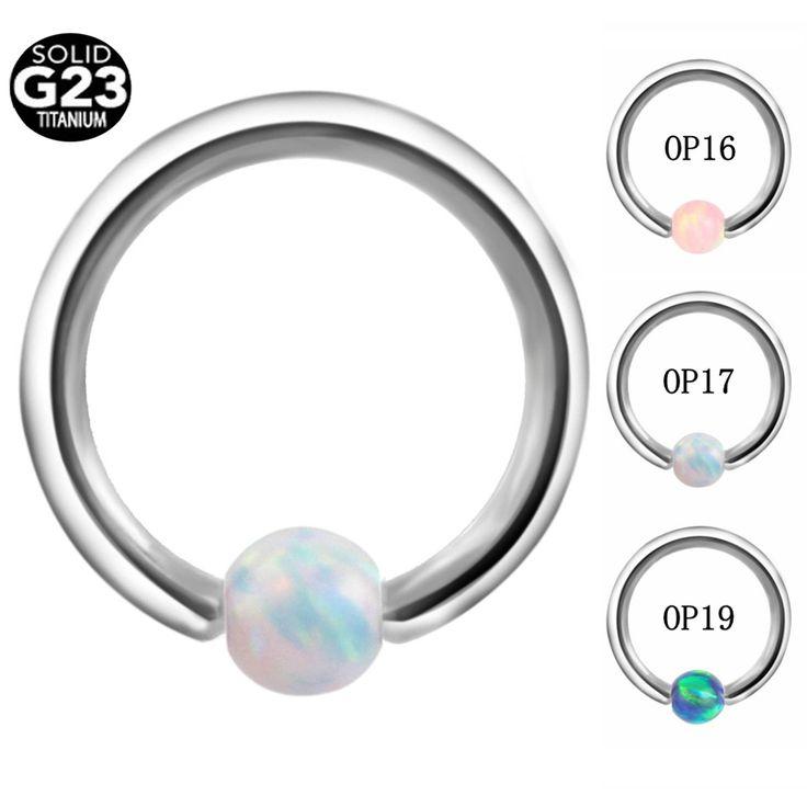 1PC G23 Titanium Opal Stone Captive Bead Ring Piercings Nose Rings Gauges Septum Clickers Nipple Lip Earring Tragus BodyJewelry