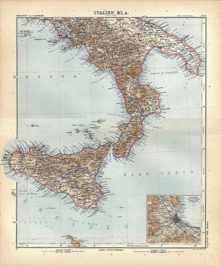 Southern Italy Map Antique 1912 Stielers Handatlas. $22.00, via Etsy.