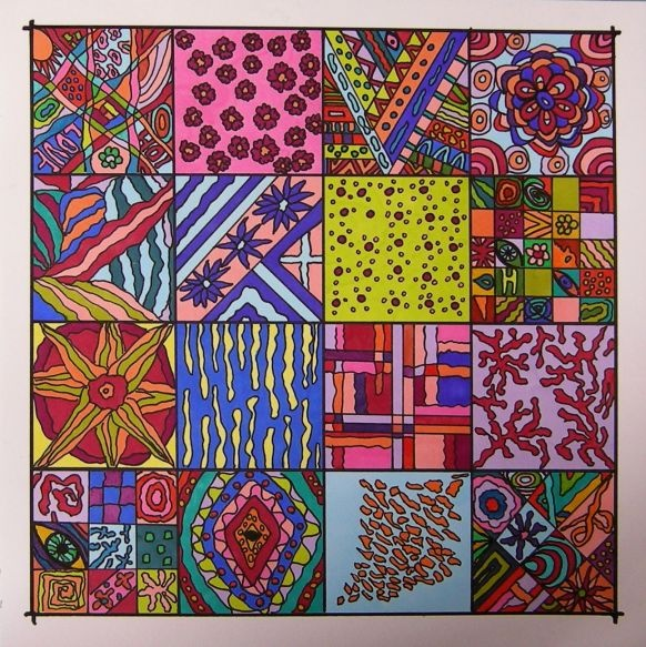colors on paper by Marjacq.art 20 by 20 cm.
