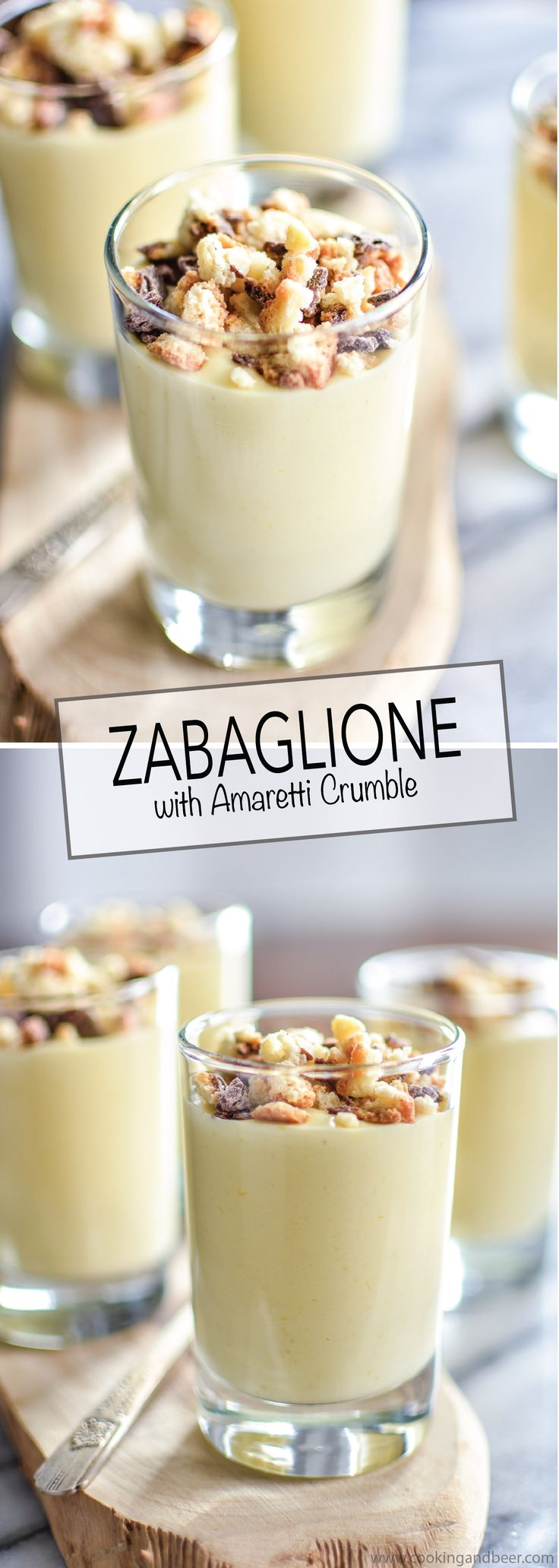 Italian Zabaglione with Biscotti Crumble is a great dessert recipe for a dinner party, as you can make it ahead and it's quick to whip up!   www.cookingandbeer.com