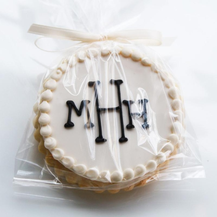 Ivory Monogram Cookie Favors. My mom is a pro at these fancy cookies. #lettieslaboroflove