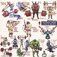 Weekly exercises with superheroes, deadlifts, bench press