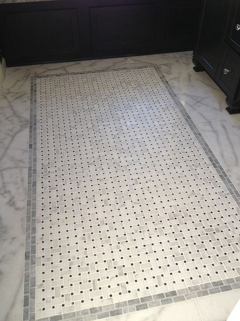 Italian marble floor installed - basketweave