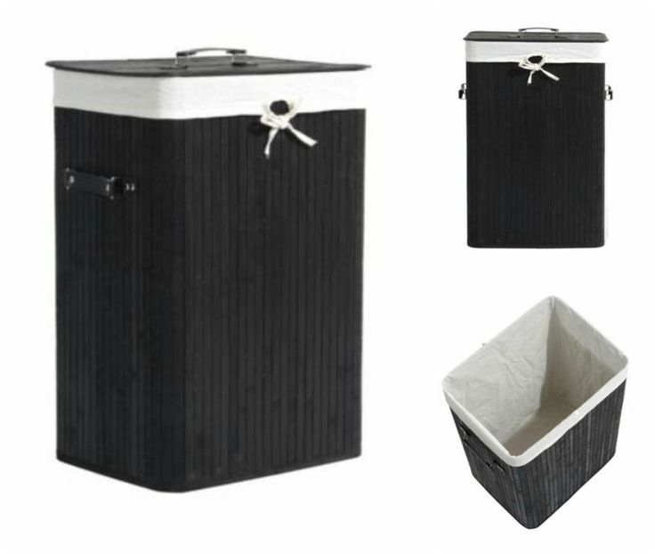 Laundry Hamper Basket Clothes Sorter Bamboo Canvas Washing Storage Bag Square #HomCom