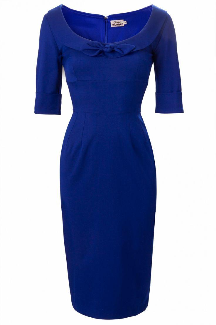 Glamour Bunny - 60s Joan Dress Deep Royal Blue