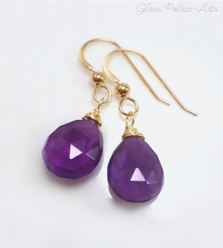 Amethyst Earrings - Gemstone Teardrop Earrings on 14k Gold Filled or Sterling Hook Earwires