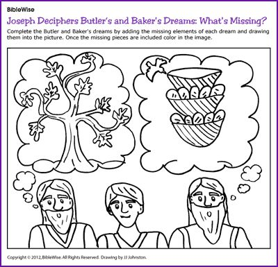 Use This On The Sewing Card For Joseph In Jail Deciphers Butlers And Bakers Dreams