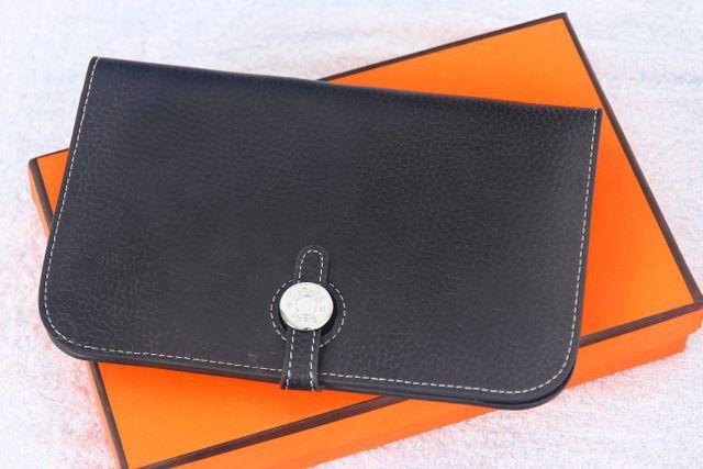 Кошелек Hermes кожаный черный большой. Размер 19х12см #18497