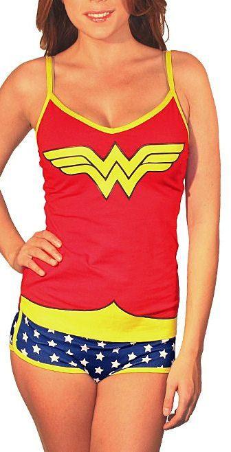 Glow-In-The-Dark Wonder Woman Camisole & Briefs // Reminds me of Underoos lol