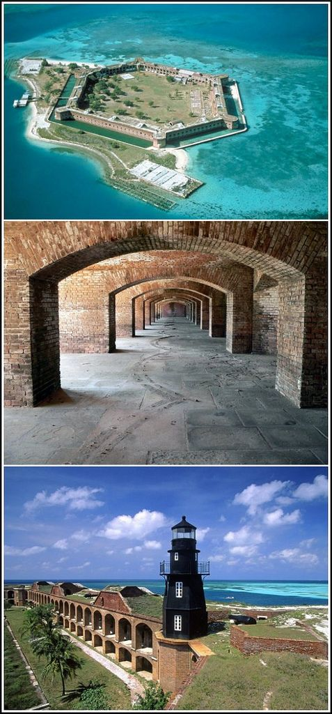 Abandoned Florida Fort Jefferson; Work began on this fascinating, unfinished coastal fort in 1846 and the building is still the largest masonry structure in the Western Hemisphere, comprising of over 16 million bricks. part of Dry Tortugas National Park and can only be reached by seaplane or boat.