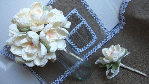 Magnolia Flowers Paper bouquet BRIDE FLOWERS by moniaflowers