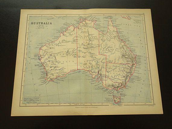 original 1897 map of australia old antique by vintageoldmaps