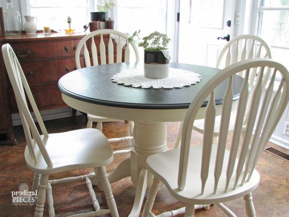RESERVED ~ Farmhouse Chic Oak Pedestal Dining Table With Leaf Extension And  Arrowback Spindle Chairs ~