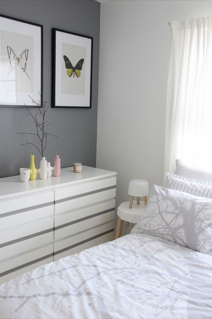 Ikea malm cheapo £35 chest of drawers x 2 (dressers) looking great with grey stripe. So calm ...