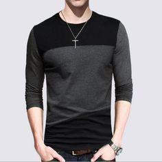 12 Diseños 2016 de Los Hombres de Moda Casual de Las Camisetas de Manga Larga Camisa de Polo de Algodón A Rayas Camiseta Cabida de Los Hombres Top Tees