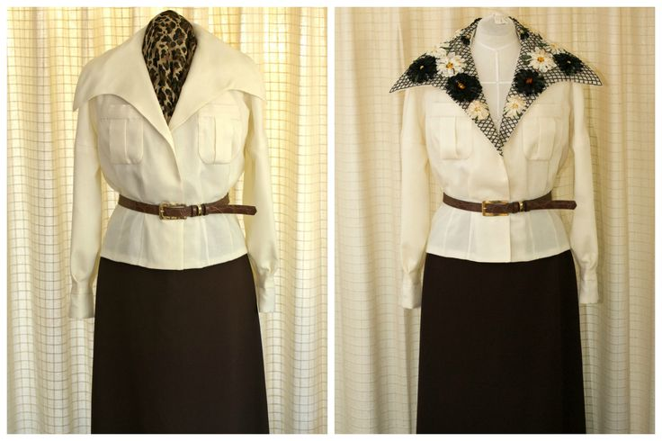 1960's Vintage Jean Patou Blouse. A vintage couture reproduction by Mooshi - Handmade with Love. Embroidered lapel optional.