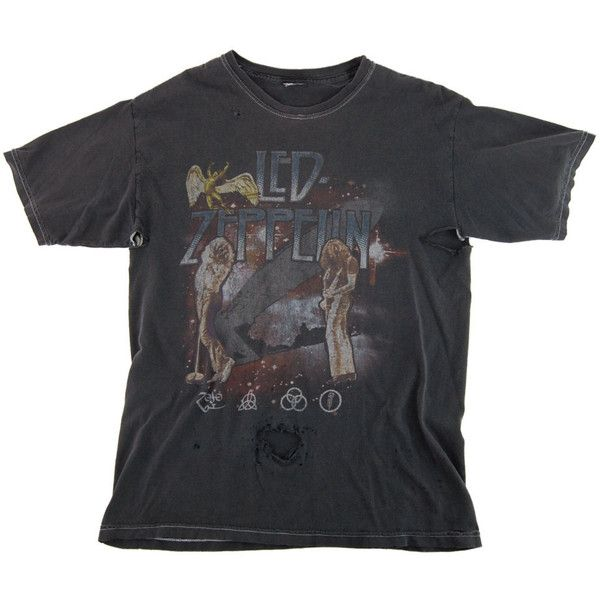 SALE - Vintage Grey LED ZEPPELIN Thrashed Band T Shirt Tee / Large (630 NOK) ❤ liked on Polyvore featuring tops, t-shirts, shirts, ripped shirt, heavy t shirts, distressed shirt, grey t shirt and oversized shirt