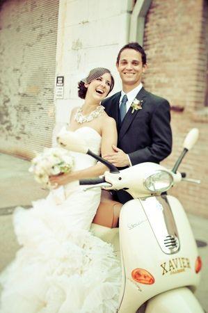 destination,wedding,Italy,couple,bride,groom,honeymoon,Vespa,smiling