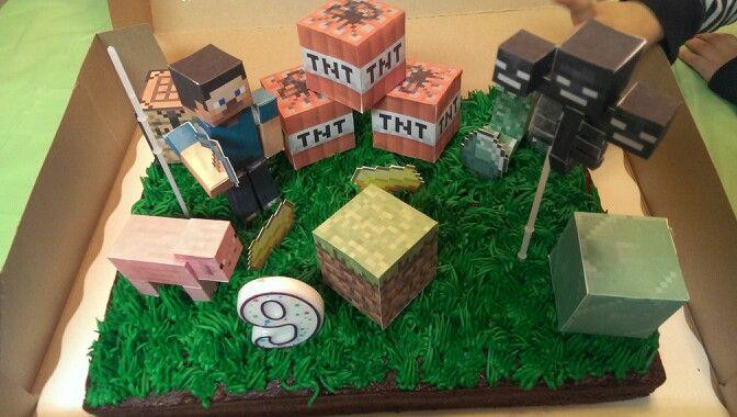 The Cake From Walmart Added MineCraft Paper Crafts Minecraft Birthday
