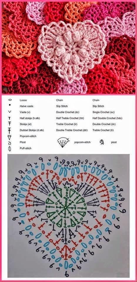 Patrón de corazón aplique ganchillo, #crochet, free pattern, heart motif, #haken, gratis patroon, haakschema, hart motief, #haakpatroon