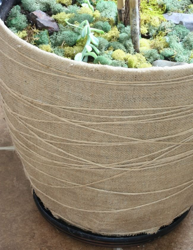 jute string burlap and mod podge give a plastic pot  makeover