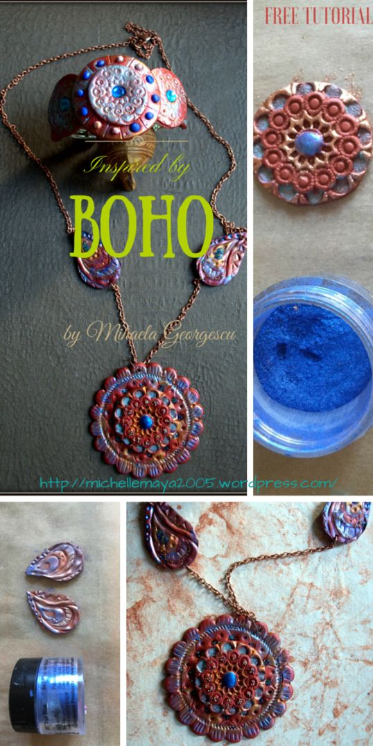 FREE Polymer Clay Tutorial by Mihaela Georgescu - Inspired by Boho -http://michellemaya2005.wordpress.com/ Playing with polymer clay, mica powders, micro-billes, Oyumaru mould compound.  Visit my blog for more polymer clay stories and tutorials!   #polymer clay #tutorials