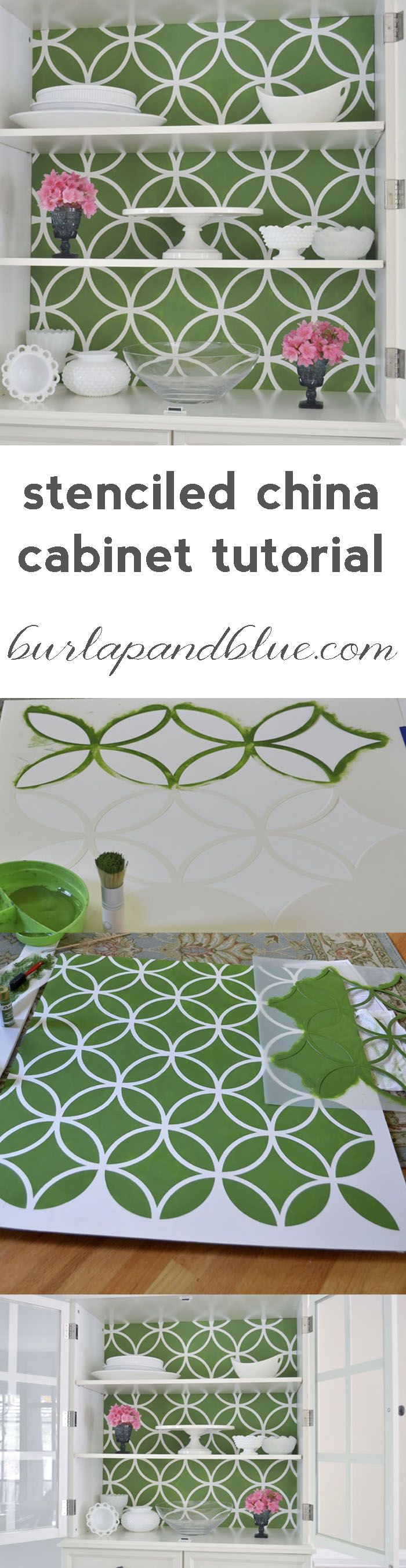 Bring you china cabinet to the next level. Spice it up a little with this Stenciled China Cabinet Tutorial!