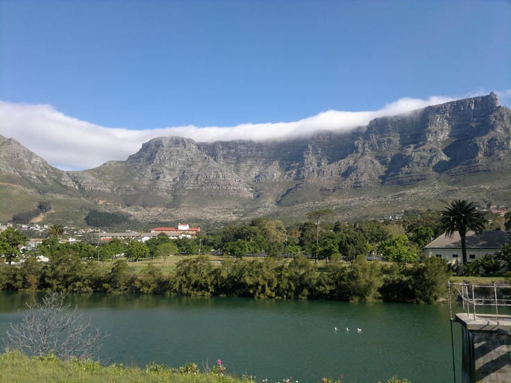 The view of Table Mountain from a park in Oranjezicht