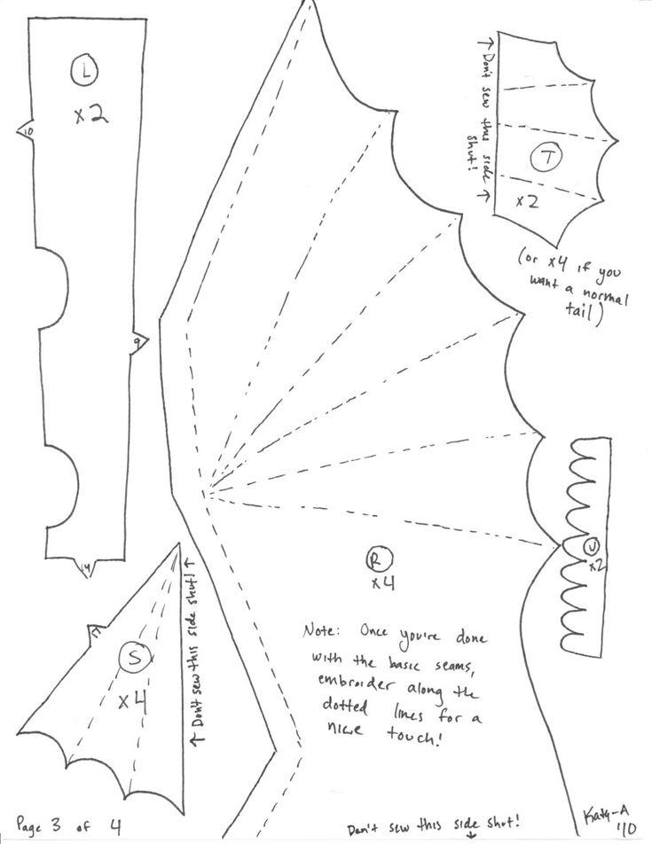free dragon sewing Toothless Pattern: by Katy-A Bereits mehrfach genäht und immer heißgeliebt, ich mache ihn ca 25% größer, dann können Kinder bis ca.5 Jahren auch reiten ;-)