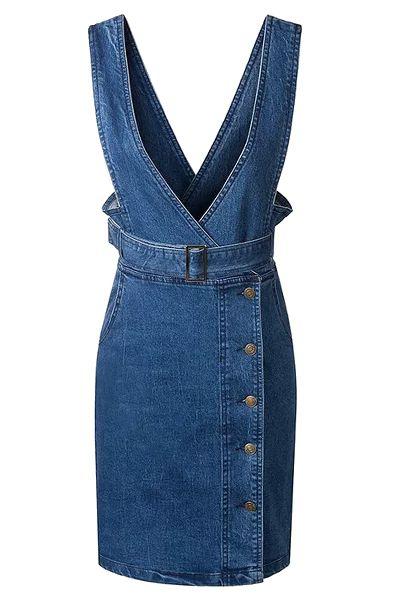 Single-Breasted Plunging Neck Sleeveless Denim Dress