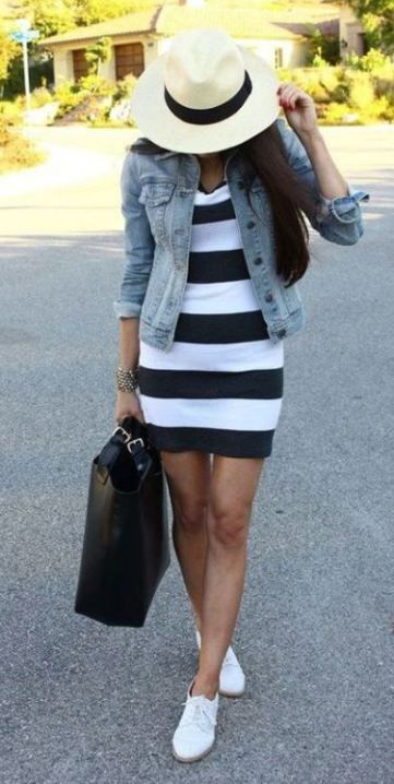 This striped dress with the denim jacket makes such a cute spring outfit!