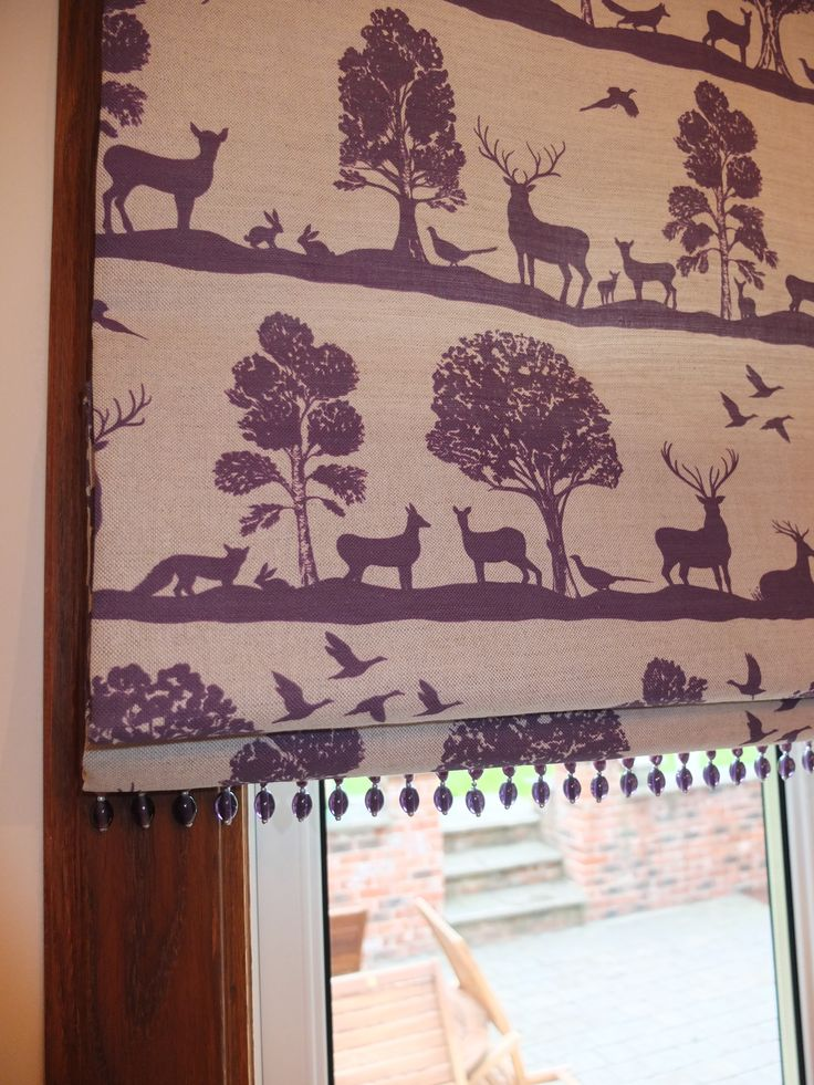Roman Blind with Purple Glass Bead Trim Purple Highland Stag Voyage Fabric