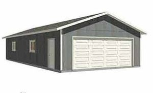 Double depth 2 car garage plans 24 39 wide looks like for Standard two car garage