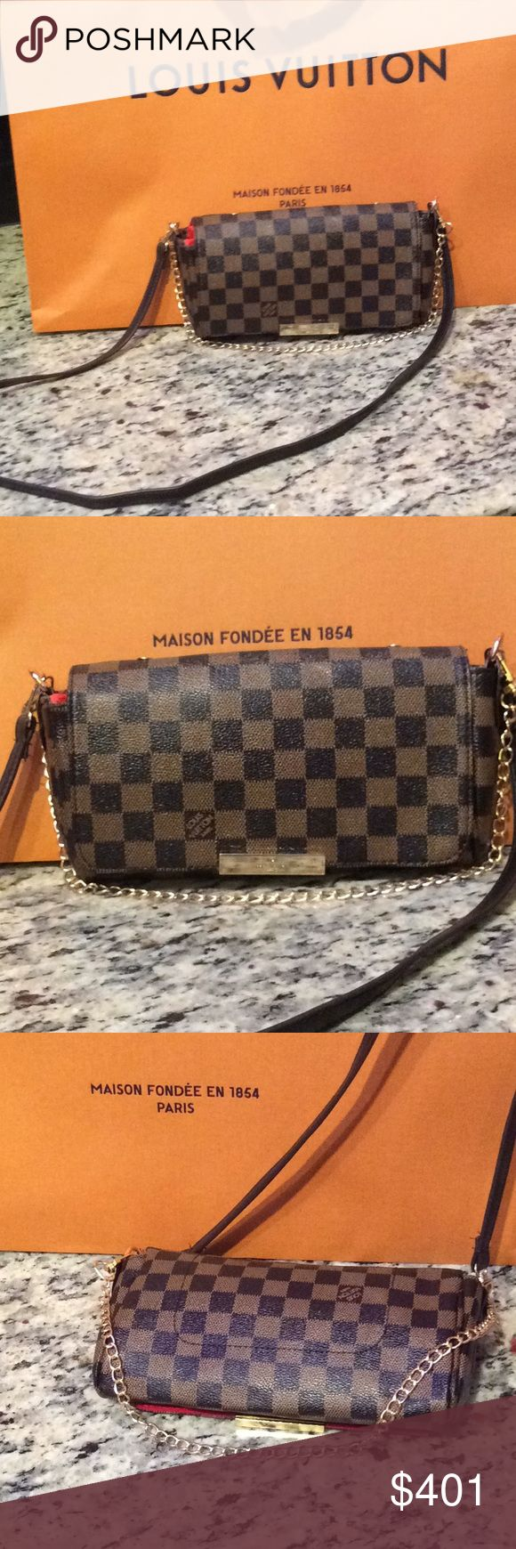 New Louis Vuitton chain Damier bag Purse handbag Just make an offer All reasonable offers will be considered   This is a brand new Louis Vuitton chain Damien  bag LV print this is an INSPIRED or not auth piece i think bc i can't find a date stamp in it so I will sell this piece at a fraction of the cost of a real. Louis Vuitton Bags Shoulder Bags