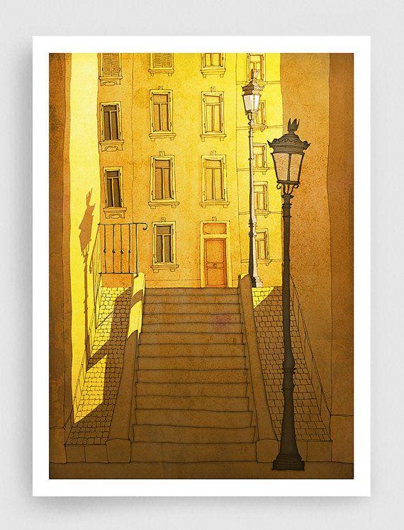 SALE, Paris illustration - Morning Shine - Paris Montmartre,Art,Fine art illustration,Art print,Art Poster,Paris art,Paris decor,sunshine,ye...