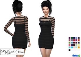 NyGirl Sims 4: Long Sleeve Striped Mini Dress