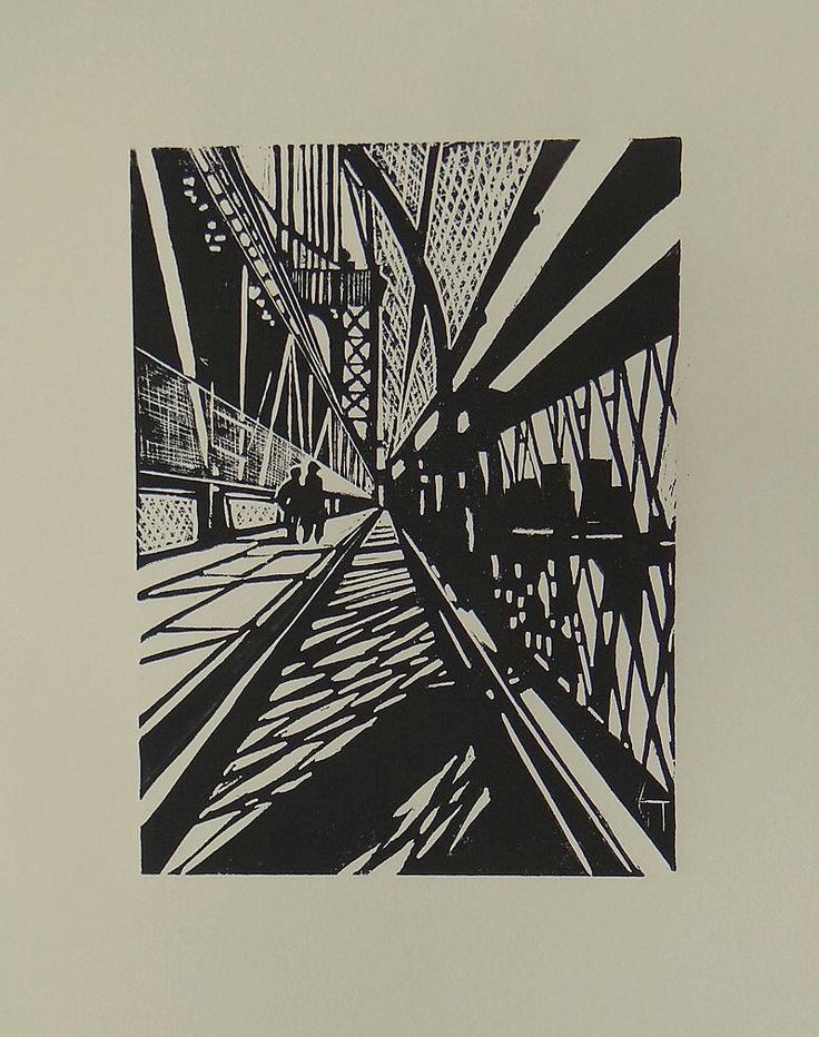 "Linogravure ""Pont de Brooklyn - New-York"" - Géraldine THEUROT - artiste-peintre"