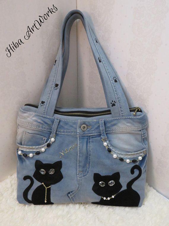 Handmade Handbag for women, denim, blue jeans handbag, cats – – Helene Lehmann