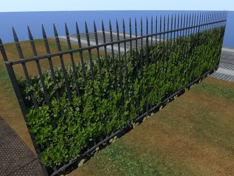 Beautiful Spiked Wrought Iron Fence with Bush and flowers, Iron Fence and Hedge Set for builders, Spiked Fence 4741