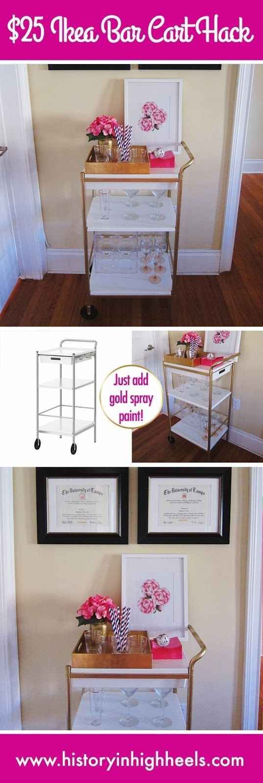 Gold spray paint comes to the rescue again if you own the Bygel utility cart ($29.99). | 37 Cheap And Easy Ways To Make Your Ikea Stuff Look Expensive
